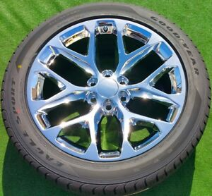 Chrome 22 In Wheels Tires Oem Factory Style Gm Escalade Denali Yukon Tahoe Set 4