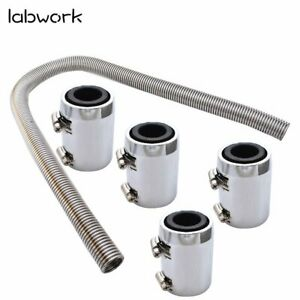 48 Stainless Steel Radiator Flexible Coolant Water Hose With Caps Kit Universal