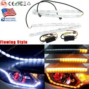 Amber white Switchback Car Flex Led Strip Light Drl Sequential Flow Turn Signal