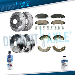 Front Drilled Rotor Ceramic Pad Rear Drum Shoe For 2005 08 Silverado Sierra 1500