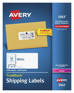 Avery 5963 Shipping Labels With Trueblock 2 X 4 Inches White Box Of 2 500
