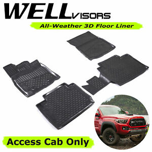 All Weather Black Floor Mats Lite For Toyota 16 17 Tacoma Wellvisors 3 864ty015