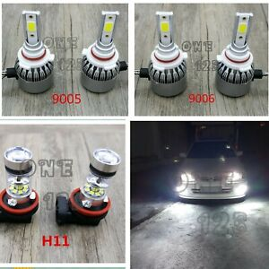 9005 9006 H11 6000k Bright White Led Headlight Bulbs Kit High Low Beam Fog Light
