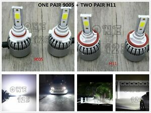 9005 H11 6000k White Combo Led Headlight Bulbs Kit High Low Beam Super Bright