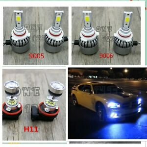 New9005 9006 H11 8000k Ice Blue Led Headlight Bulbs Kit High Low Beam Fog Light