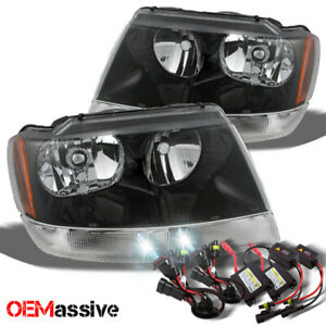 Fit 99 04 Jeep Grand Cherokee Replacement Black Headlights 6k White Hid