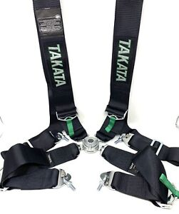 Takata 4 Point Snap On 3 With Camlock Racing Seat Belt Harness Black Universal