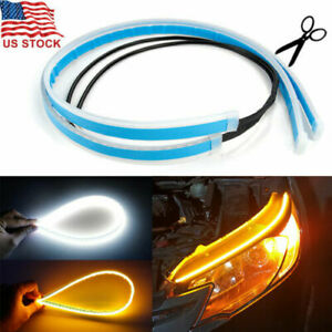 2pcs 60cm Flexible Led Car Headlight Slim Strip Sequential Turn Signal Drl Light