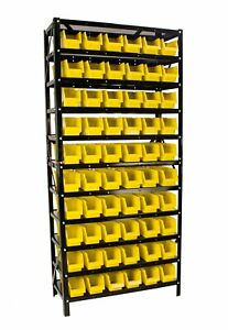 Erie Tools 60 Bin Parts Rack Storage Shop Garage Organizer Nuts Bolts Parts