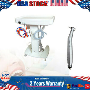 Portable Dental Delivery Unit Mobile Cart Treatment Equip 4 Hole W Curing Light