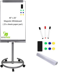 Magnetic Mobile Standing Whiteboard 40 X 26 Inches Dry Erase White Board Tripod