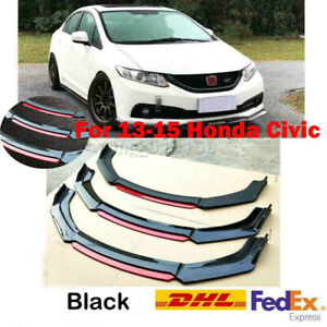 4pc Gloss Black Front Bumper Lip Splitter For 9th Honda Civic Sedan Si 2013 2015