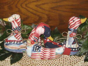 3 Americana Geese Country Decor Bowl Fillers Wreath Accents Vintage Look Fabric