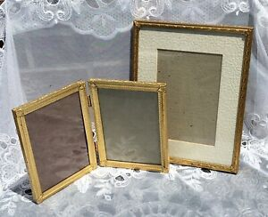 Stunning 1940s Ornate Gold Plated Ormolu Embossed Metal Picture Frames Lot Of 3