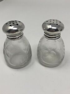 Vintage Antique Sterling Silver Cut Crystal Salt And Pepper Shakers Floral
