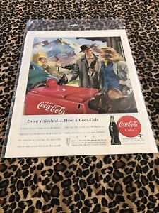 COCA COLA Ad Advertisement Vintage 1947 Drive Refreshed & FORTUNE SHOES C4