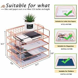 Nugorise Stackable Letter Tray 4 Tier Paper Organizer Tray Wire Desk File Sort
