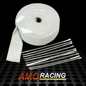 32feet 2 White Fiberglass Exhaust Header Pipe Heat Wrap Tape W 10 Ties Kit