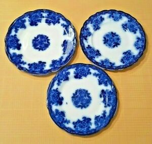 Antique New Wharf Pottery Flow Blue Waldorf Plates Made In England