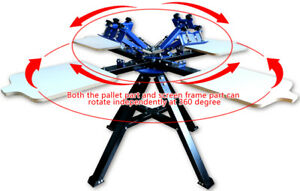4 Color 4 Station Double Wheel Screen Printing Machine Press Silk Screen Printer