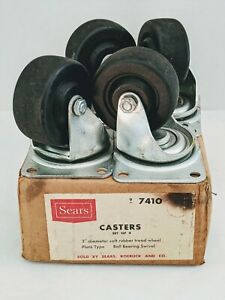 4 New Bassick Swivel Plate 3 Wheels Casters 361 Vintage Industrial Sears