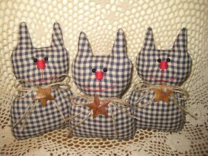 3 Rustic Blue Check Fabric Cats Bowl Fillers Country Home Decor Wreath Accents