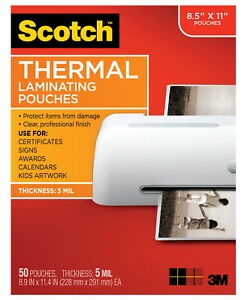 Scotch Thermal Laminating Pouch 8 9 10 X 11 2 5 Inches 5 Mil Thick Pack Of 50