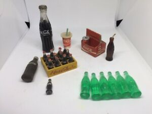 Vintage Miniature Coca Cola Bottle and Accessories Lot