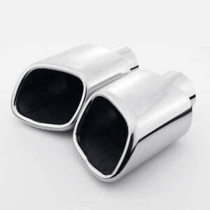 Stainless Steel Exhaust Tips 2 25 Inlet Dual Square Out 7 Long Slant Cut Pair
