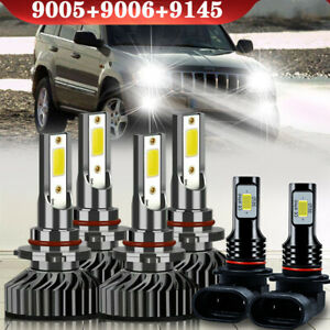 For Jeep Grand Cherokee 1999 2001 2002 2003 2004 6 led Headlights fog Bulbs Kit