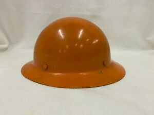 Vintage Msa Miners Hard Hat Linemen Skullgard Full Brim Coal Orange