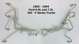 Set Of 8 Fuel Injection Lines For Ford 6 9l 7 3l Idi Diesel 1983 1994 F series