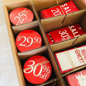 Bulk Sale Pricing Tags Bright Red White Discounts Saving Retail Store Shop