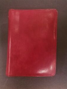 Franklin Covey Classic Leather Zipper Binder Red 1 Rings