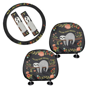 Cute Sloth Gifts Car Seat Headrest Cover steering Wheel Cover seatbelt Pads 5pc