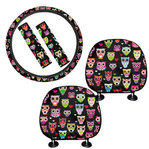 Cute Cartoon Owl Car Seat Headrest Cover With Steering Wheel Cover seatbelt Pads