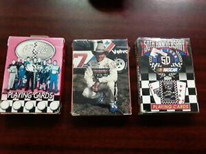 3 Packs Nascar Playing Cards Yarborough Coca Cola 50th Anniversary 1998 Bicycle