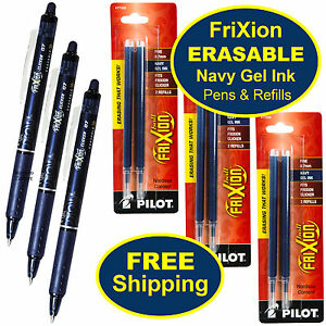 Pilot Frixion Clicker Erasable Navy Gel Ink Pens 3 Pens With 3 Packs Of Refills