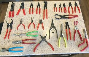 Snap On Cornwell Knipex Blue Point Blackhawk 24 Pc Mixed Tool Lot Pliers