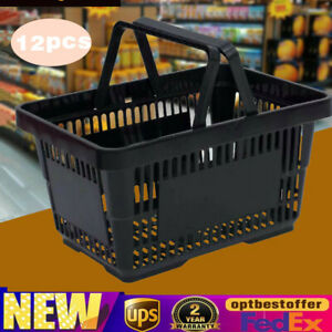 12 Pcs Durable Plastic Shopping Baskets Grocery Retail Convenience Store Stacked