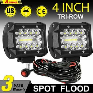 2pcs 4 Inch Led Work Light Bar Spot Flood Pods Fit For Jeep Atv With Wire Kit