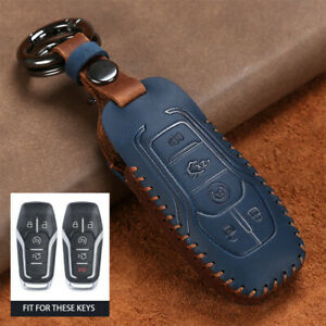 Classic Leather Car Key Case Cover For Ford Mustang Fusion For Lincoln Mkx Mkc