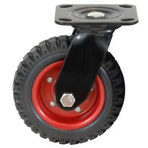 Powertec Wheel Caster Swivel Knobby Threaded Heavy Duty Industrial Caster 8 Inch