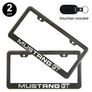 2pcs Ford Mustang Gt License Plate Frame Carbon Fiber Look Style Plastic