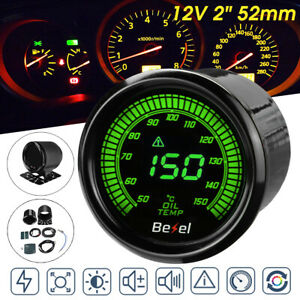 Universal 2 52mm 10 Color Led Car Oil Temp Temperature Gauge Meter With Sensor