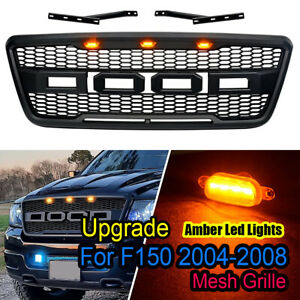 Fits For 04 08 Ford F150 Raptor Style Black Front Hood Grille Conversion W Led