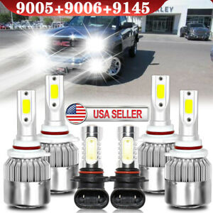 For Gmc Sierra 1500 2500hd 2003 2004 2005 2006 6pcs Led Headlight Fog Bulbs Kit
