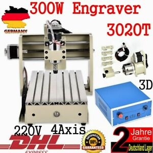 4axis 3020 Cnc Router Engraver Engraving Mill Metalwork Machine Carving 300w Top