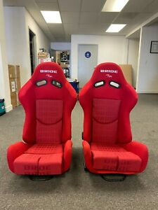 Pair Of Bride Gias V1 Red Gradation Cloth Low Max Pair Reclining Racing Seats