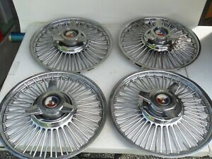 4 60s Ford Galaxie Fairlane 15 Across Center Hubcaps Wire Wheel Covers Spinners